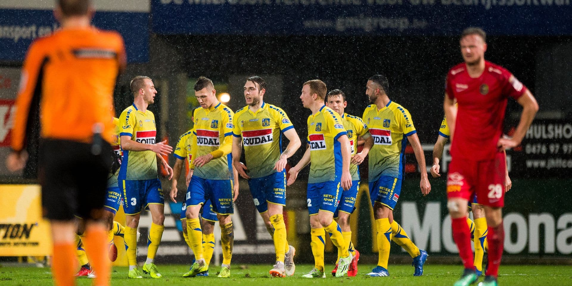 Westerlo's players celebrate after scoring during a soccer game between KVC Westerlo and AFC Tubize, Friday 08 February 2019 in Westerlo, on the 25th day of the 'Proximus League' 1B division of the Belgian soccer championship. BELGA PHOTO JASPER JACOBS