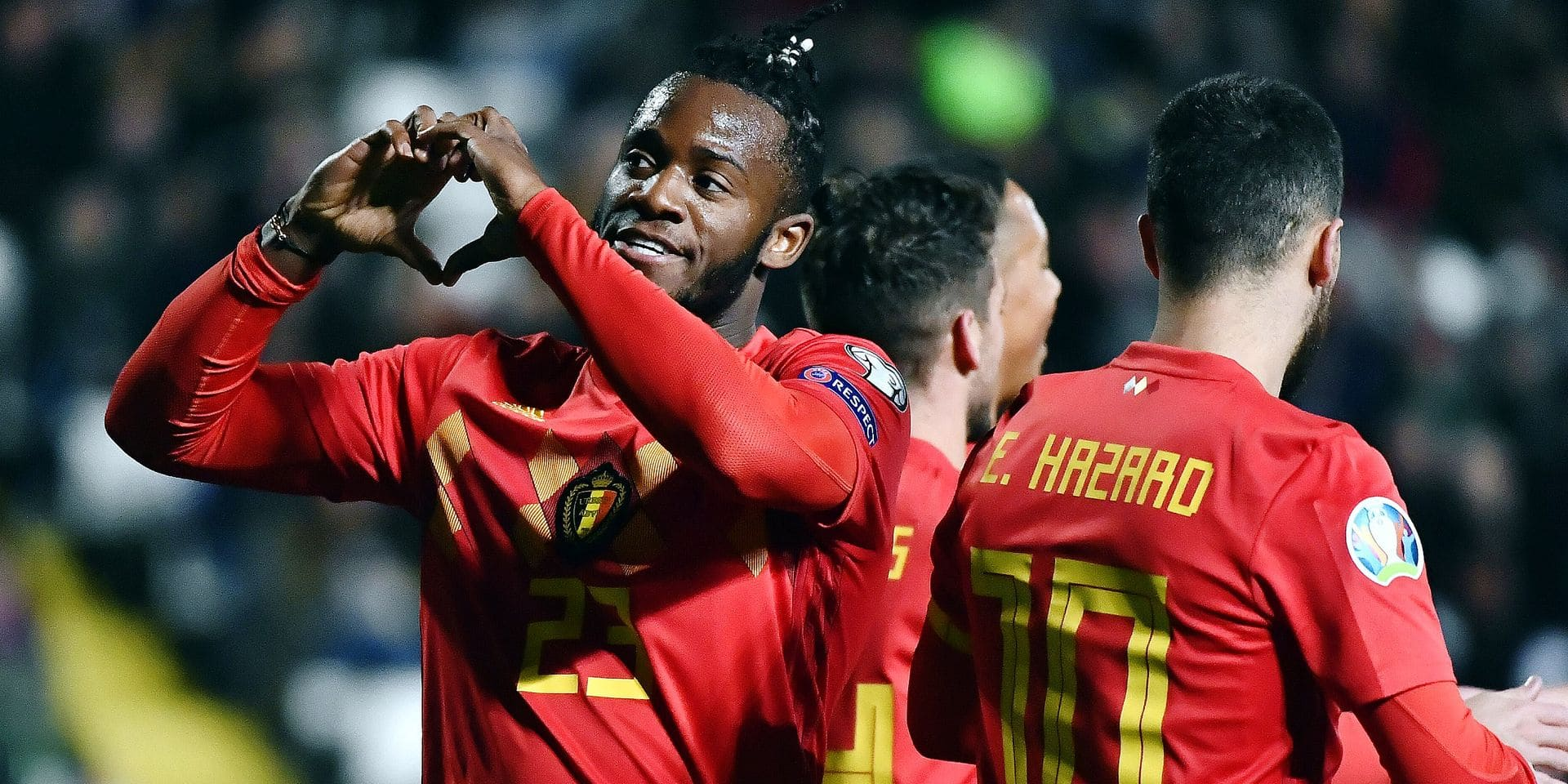 Belgium's Michy Batshuayi celebrates after scoring during a qualification game for the European Championships 2020 between Cyprus and Belgian national soccer team the Red Devils, in the group I, Sunday 24 March 2019 in Nicosia, the Republic of Cyprus. BELGA PHOTO DIRK WAEM