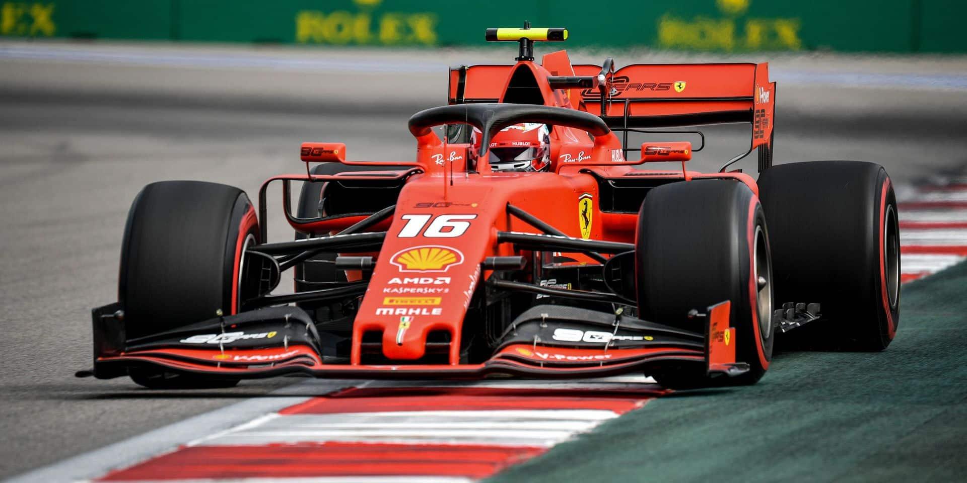 F1: Charles Leclerc devant lors de la 3e séance d'essais libres au GP de Russie