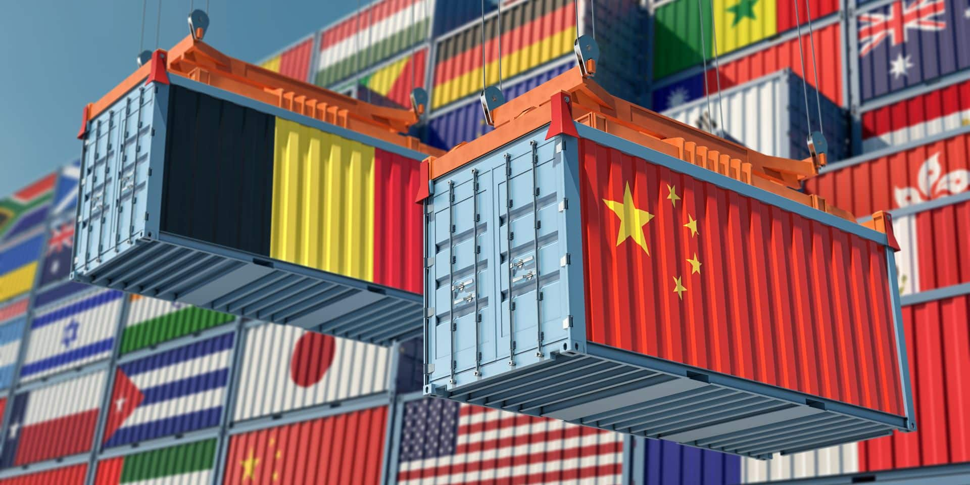 Freight,Containers,With,China,And,Belgium,National,Flags.,3d,Rendering