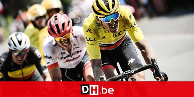 (From L) Belgium's Yves Lampaert, Germany's John Degenkolb and Belgium's Greg Van Avermaet, wearing the overall leader's yellow jersey, ride during the ninth stage of the 105th edition of the Tour de France cycling race between Arras and Roubaix, northern France, on July 15, 2018. / AFP PHOTO / Jeff PACHOUD