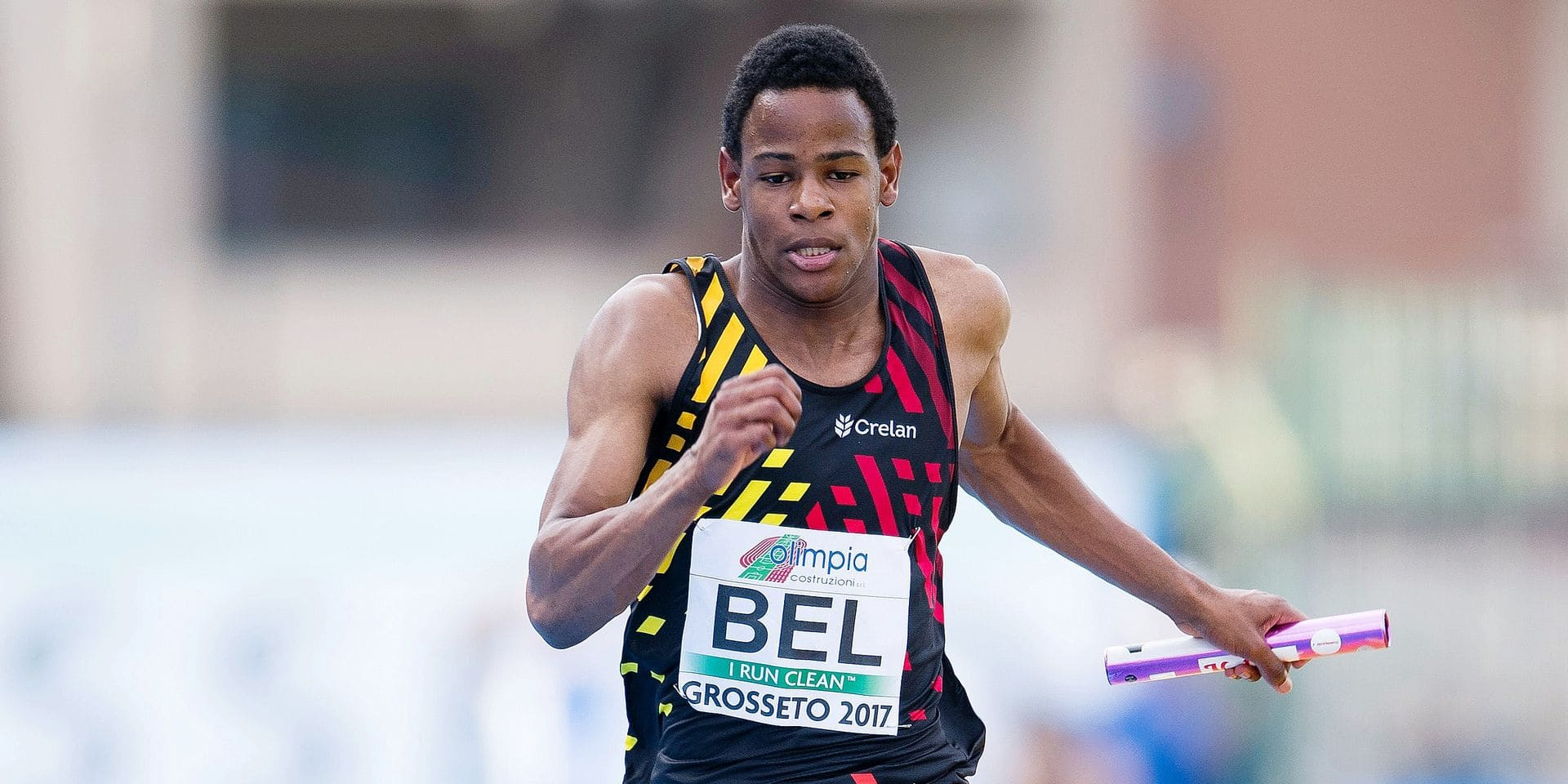 Belgian Raphael Kapenda pictured in action during the men's 4x100m relay on the fourth day of the U20 European Championships Athletics, in Grosseto, Italy, Sunday 23 July 2017. This year, the biyearly Championships for athletes who are 19 years old or younger are taking place from 20 to 23 July. BELGA PHOTO JASPER JACOBS