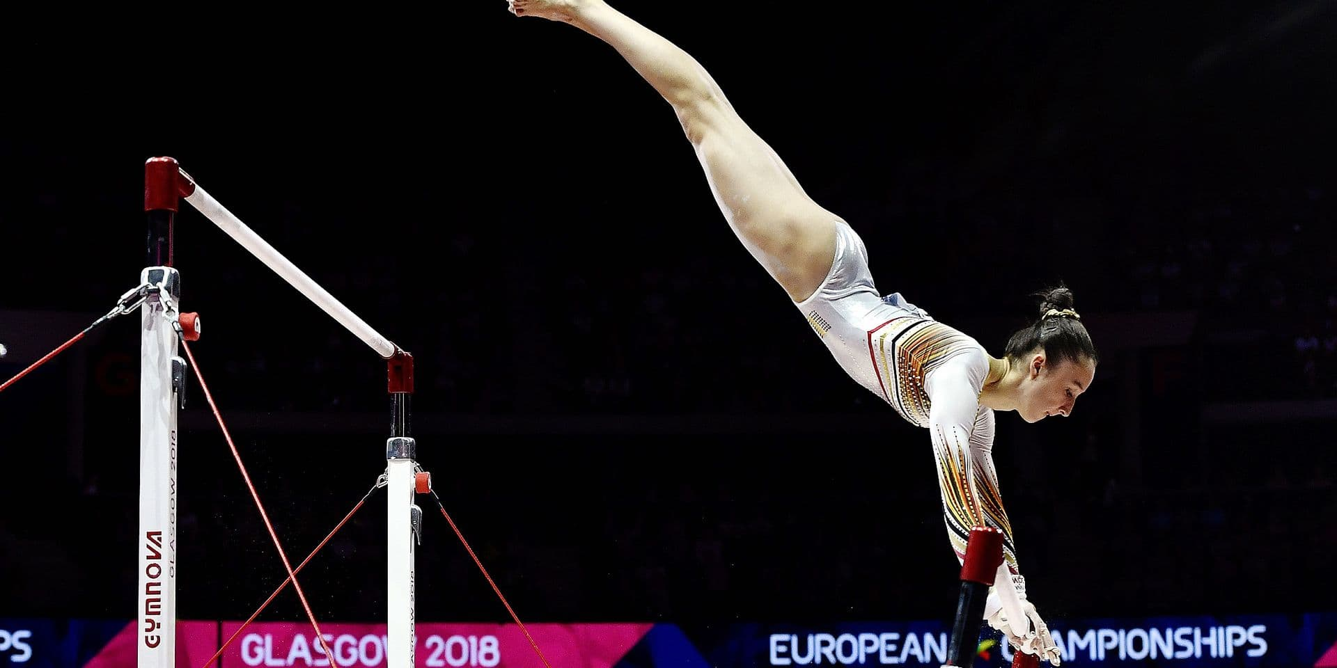 Belgian gymnast Nina Derwael pictured in action during the women's uneven bars final at the artistic gymnastics event at the European Championships, in Glasgow, Scotland, Sunday 05 August 2018. European championships of several sports will be held in Glasgow from 03 to 12 August. BELGA PHOTO ERIC LALMAND