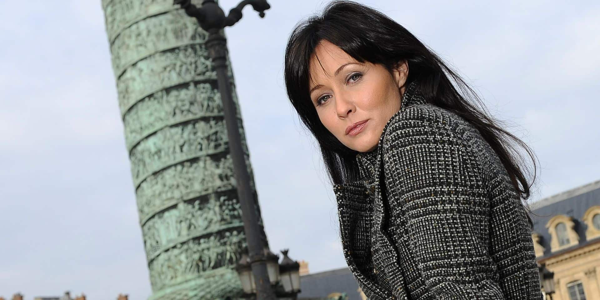 EXCLUSIVE. US actress Shannen Doherty poses in Paris, France