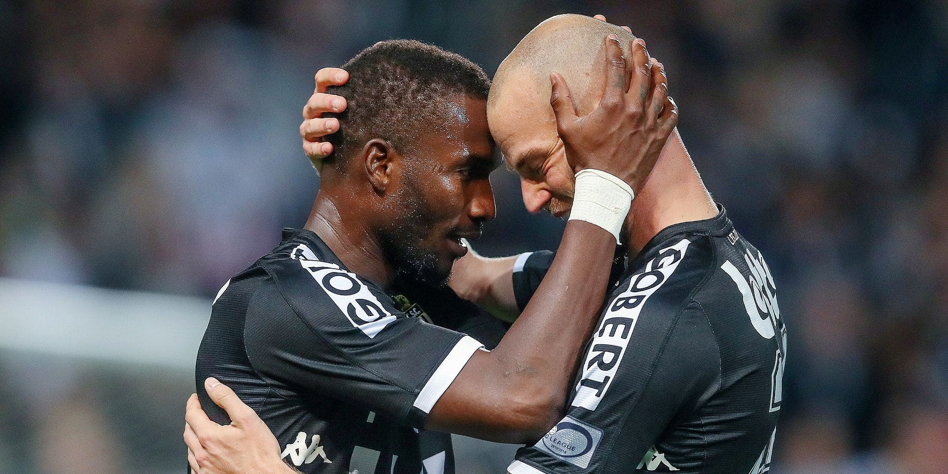 Charleroi's Adama Niane and Charleroi's Dorian Dessoleil celebrate during the Jupiler Pro League match between Sporting Charleroi and Sporting Lokeren, Saturday 29 September 2018 in Charleroi, on the ninth day of the 'Jupiler Pro League' Belgian soccer championship season 2018-2019. BELGA PHOTO BRUNO FAHY