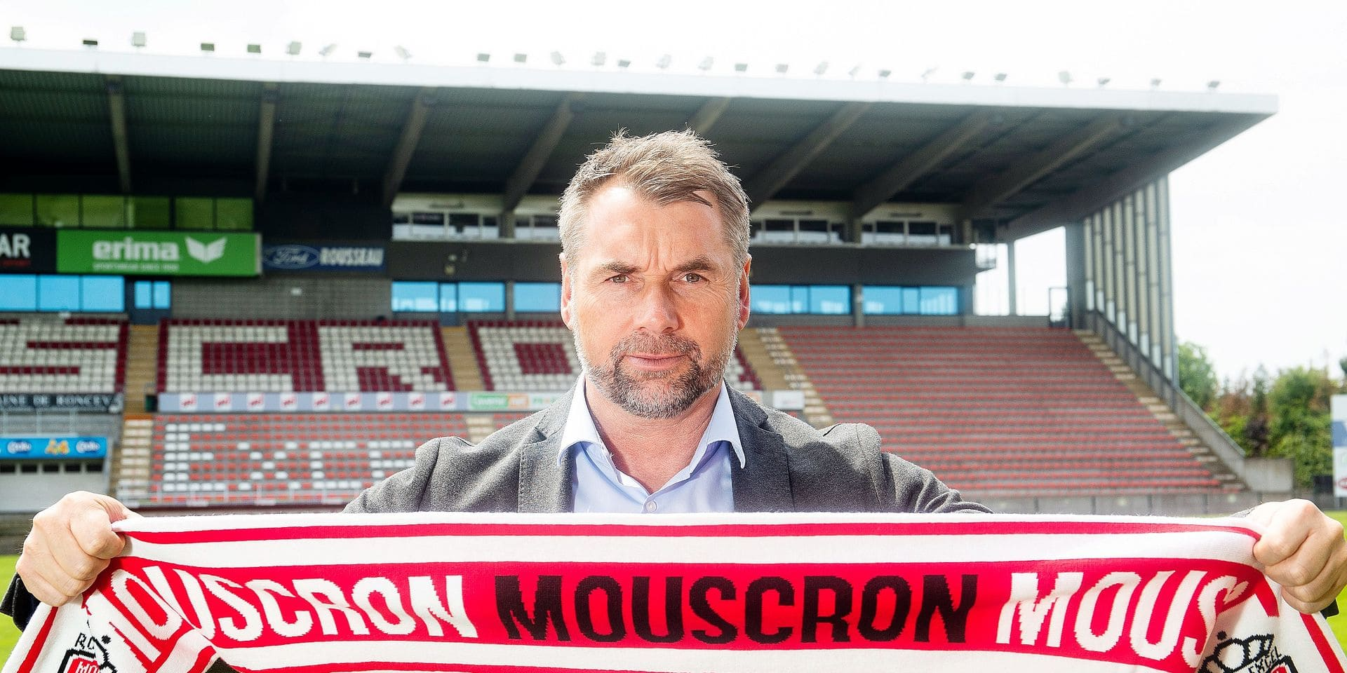 Mouscron's new head coach German Bernd Hollerbach poses for the photographer during a press conference of Royal Excel Mouscron to present their new coach, Thursday 23 May 2019 in Mouscron. BELGA PHOTO BRUNO FAHY