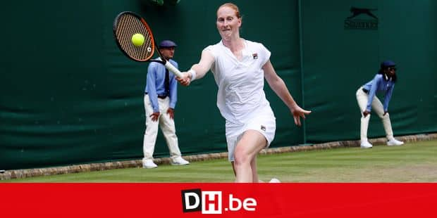 Belgian Alison Van Uytvanck pictured in action during a tennis match between Belgian Alison Van Uytvanck (WTA-47) and Russian Daria Kasatkina (WTA-14), in round four of the womens's singles at the 2018 Wimbledon grand slam tennis tournament at the All England Tennis Club, in south-west London, Britain, Monday 09 July 2018. BELGA PHOTO VIRGINIE LEFOUR