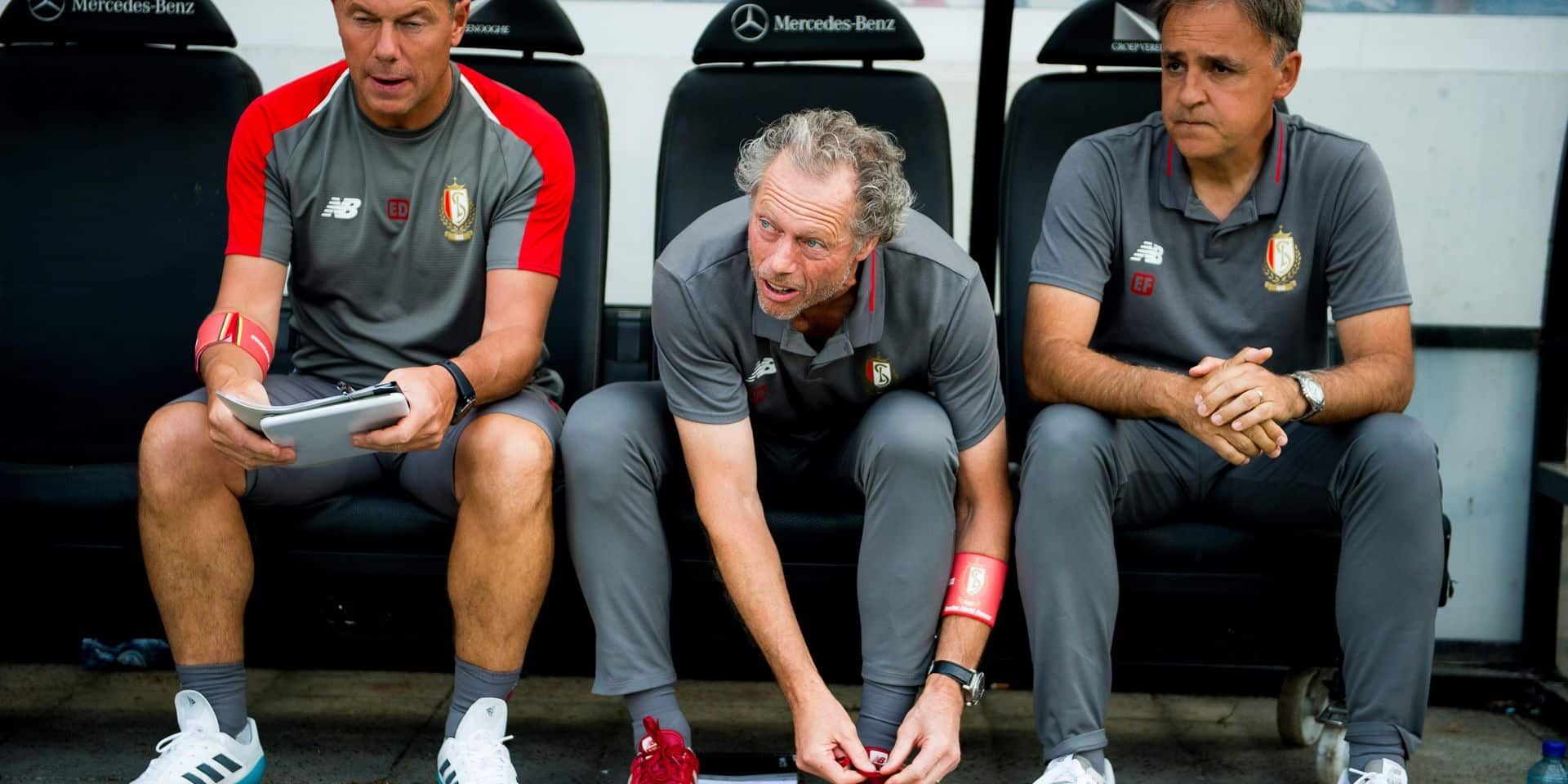 Standard's assistant coach Eric Deflandre, Standard's head coach Michel Preud'homme and Standard's assistant coach Emilio Ferrera pictured during a soccer game between Club Brugge and Standard de Liege, the supercup match between the respective champion of the Jupiler Pro League and the Belgian cup winner, Sunday 22 July 2018, in Brugge. BELGA PHOTO JASPER JACOBS