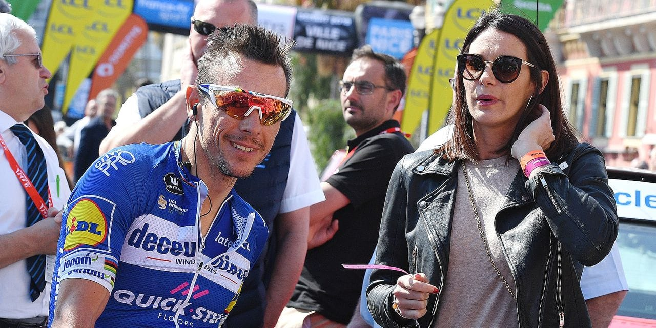 Belgian Philippe Gilbert of Deceuninck - Quick-Step and his girlfriend Bettina Pesce pictured at the start of the final stage of the 77th edition of the Paris-Nice cycling race, 110 km from Nice to Nice, France, Sunday 17 March 2019. The race starts on the 10th and ends on the 17th of March. BELGA PHOTO DAVID STOCKMAN
