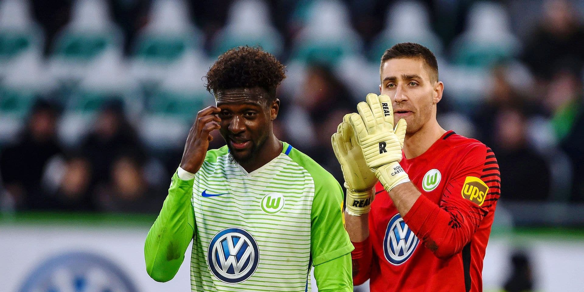 Divock Origi (Wolfsburg), Koen Casteels (Wolfsburg) (180120) WOLFSBURG, DEUTSCHLAND -- Fussball, 1. Bundesliga: VfL Wolfsburg - Eintracht Frankfurt am 20. Januar 2018 in der Volkswagen Arena in Wolfsburg, Deutschland. PICTURES NOT INCLUDED IN THE CONTRACTS ! only BELGIUM !