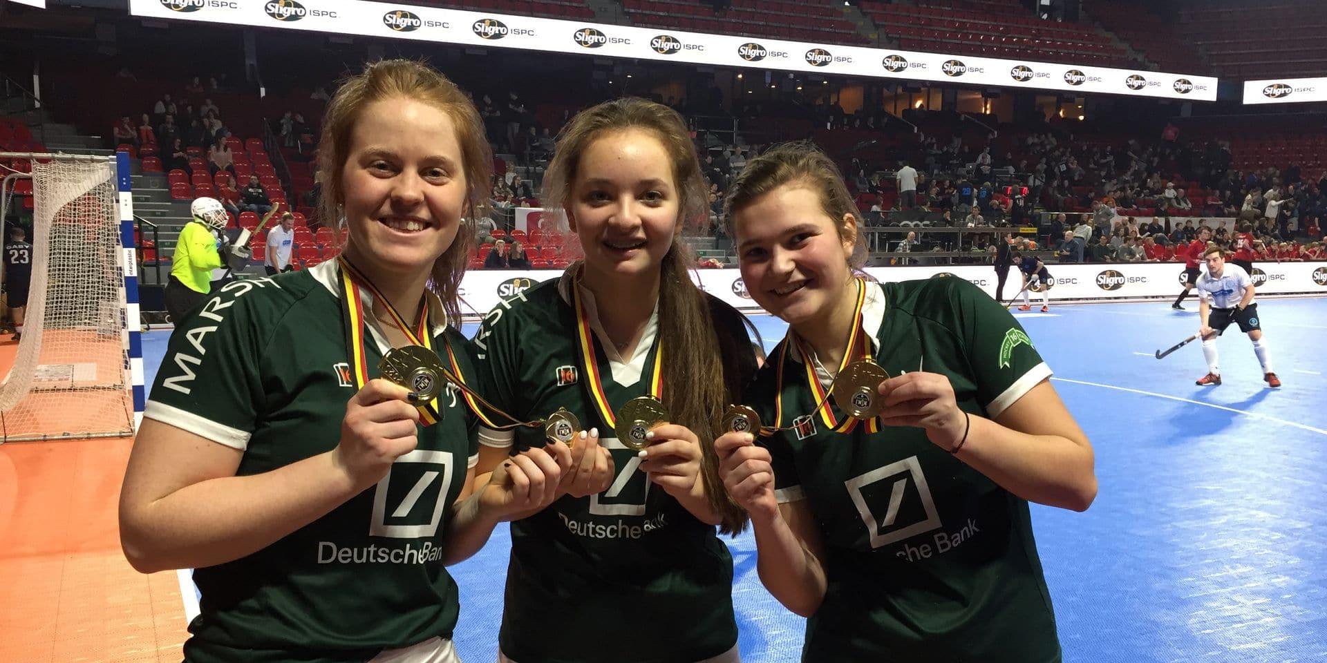 Vanessa Blockmans, Claire Barry et France De Mot: deux titres en hockey en salle en 24 heures
