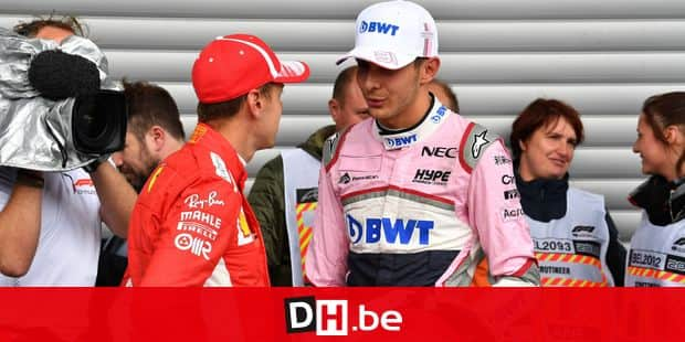 Sebastian Vettel, Ferrari and Esteban Ocon, Racing Point Force India F1 Team in parc ferme at Formula One World Championship, Rd13, Belgian Grand Prix, Qualifying, Spa Francorchamps, Belgium, Saturday 25 August 2018. FORMULE 1 : Essais Grand Prix de Belgique - Spa Francorchamps - 25/08/2018 © PanoramiC / PHOTO NEWS PICTURES NOT INCLUDED IN THE CONTRACTS ! only BELGIUM !