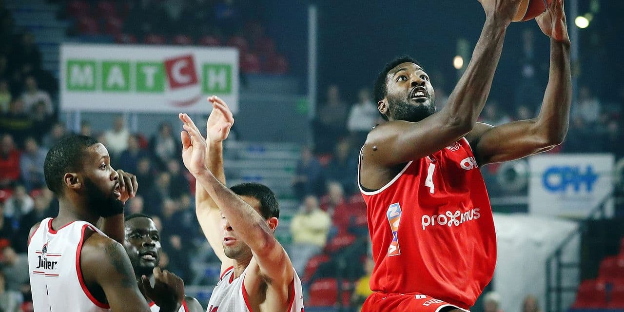 Charleroi's Dario Hunt pictured in action during the basketball match between Spirou Charleroi and Liege Basket, Friday 08 February 2019 in Charleroi, on day 16th of the 'EuroMillions League' Belgian first division basket competition. BELGA PHOTO VIRGINIE LEFOUR