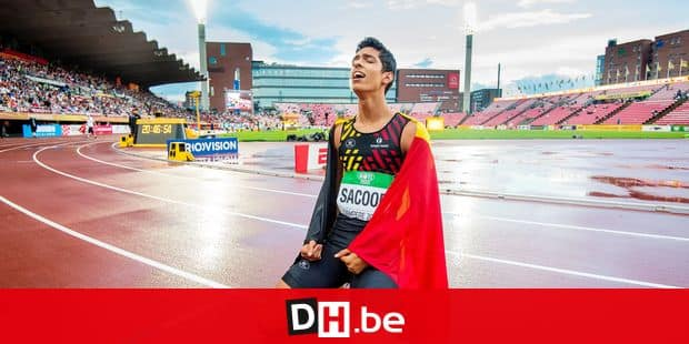 Belgian Jonathan Sacoor celebrates after winning the final of the men's 400m event, on day four of the IAAF World U20 Athletics Championships in Tampere, Finland, Friday 13 July 2018. The U20 Worlds take place from 10 to 15 July 2018. BELGA PHOTO JASPER JACOBS