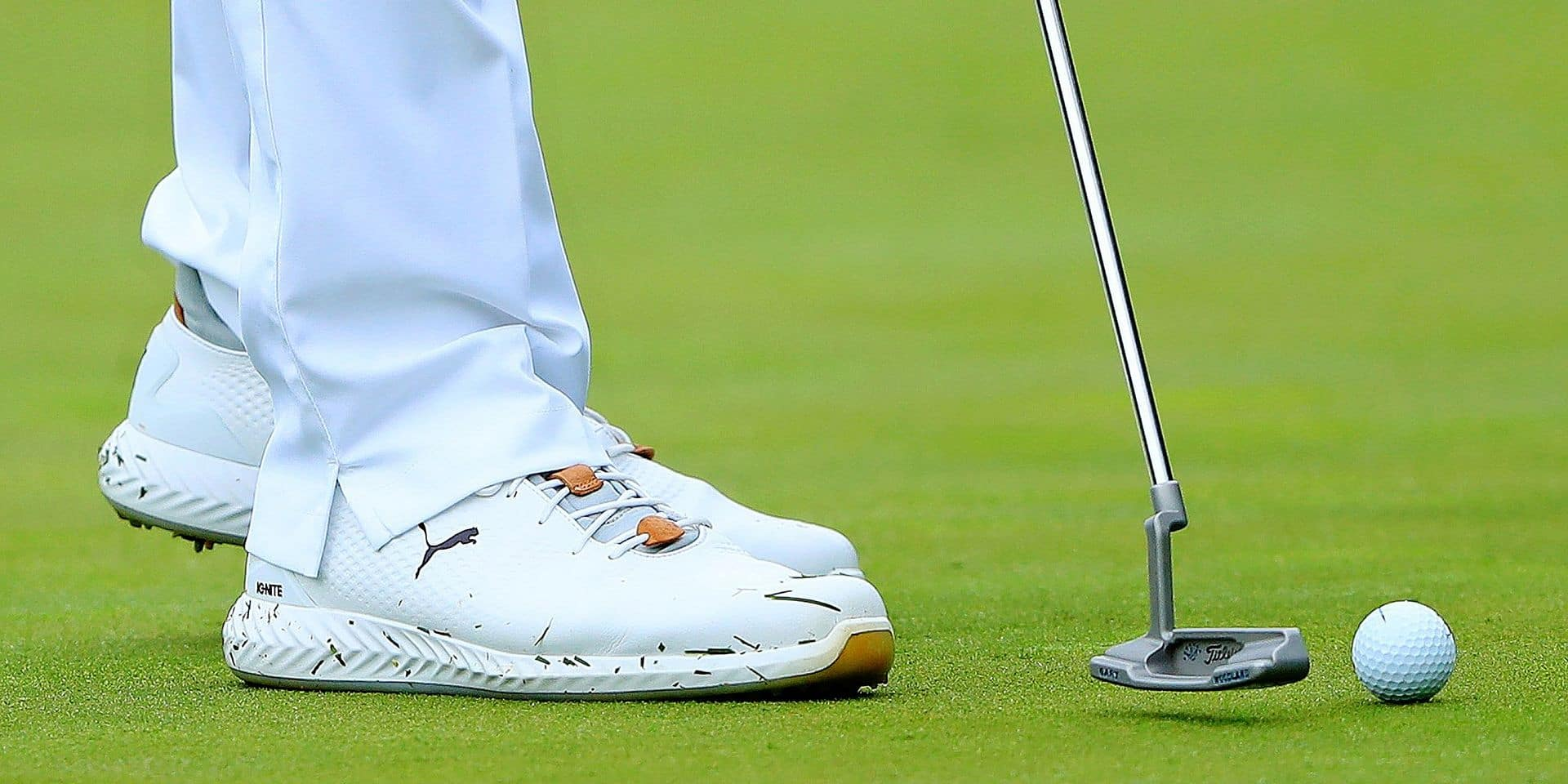 DUBLIN, OHIO - MAY 30: Detail of the Puma Special Edition shoes of Gary Woodland during the first round of The Memorial Tournament Presented by Nationwide at Muirfield Village Golf Club on May 30, 2019 in Dublin, Ohio. Sam Greenwood/Getty Images/AFP == FOR NEWSPAPERS, INTERNET, TELCOS & TELEVISION USE ONLY ==