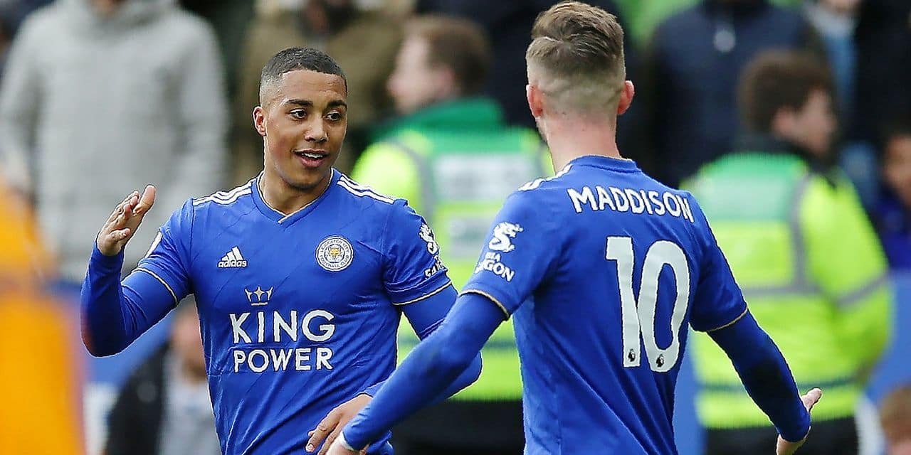 Leicester City's Belgian midfielder Youri Tielemans (L) celebrates with Leicester City's English midfielder James Maddison after scoring the opening goal during the English Premier League football match between Leicester City and Fulham at King Power Stadium in Leicester, central England on March 9, 2019. (Photo by Daniel LEAL-OLIVAS / AFP) / RESTRICTED TO EDITORIAL USE. No use with unauthorized audio, video, data, fixture lists, club/league logos or 'live' services. Online in-match use limited to 120 images. An additional 40 images may be used in extra time. No video emulation. Social media in-match use limited to 120 images. An additional 40 images may be used in extra time. No use in betting publications, games or single club/league/player publications. /
