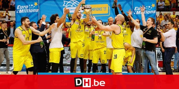 Oostende's players celebrate with the Champions trophy after winning the basketball match between BC Oostende and Antwerp Giants, the third game of the final of the play offs of the EuroMillions League Basketball competition, Wednesday 13 June 2018 in Oostende. BELGA PHOTO KURT DESPLENTER