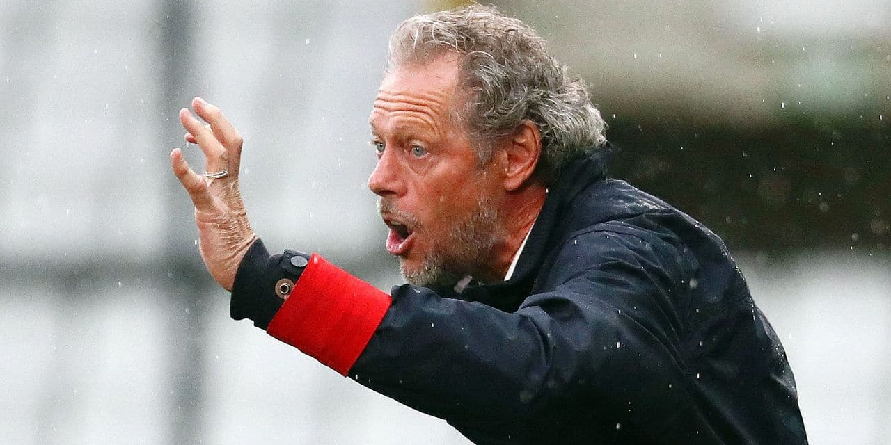 Standard's head coach Michel Preud'homme gestures during a soccer match between Cercle Brugge KSV and Standard de Liege, Saturday 27 July 2019 in Brugge, on the first day of the 'Jupiler Pro League' Belgian soccer championship season 2019-2020. BELGA PHOTO VIRGINIE LEFOUR