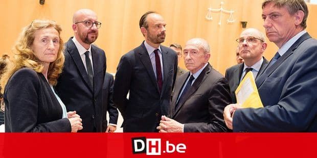 French Justice Minister Nicole Belloubet, Belgian Prime Minister Charles Michel, Prime Minister of France Edouard Philippe, French Interior Minister Gerard Collomb , Minister of Justice Koen Geens and Vice-Prime Minister and Interior Minister Jan Jambon pictured during a visit of the new french justice palace prior a bilateral meeting between French and Belgian Prime Ministers regarding the cooperation between the two countries for more interior security and the fight against terrorism, Monday 11 June 2018, in Paris, France. BELGA PHOTO BENOIT DOPPAGNE