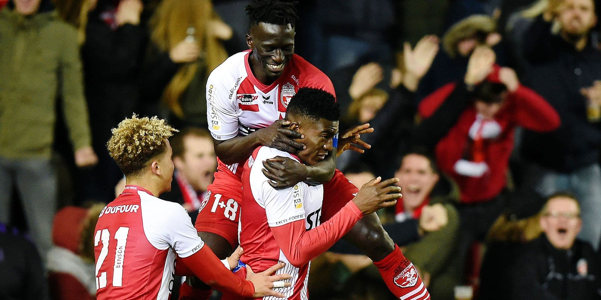 Mouscron's Taiwo Awoniyi celebrates after scoring a goal during a soccer match between Royal Excel Mouscron and Cercle Brugge KSV, Sunday 17 February 2019 in Mouscron, on day 26 of the 'Jupiler Pro League' Belgian soccer championship season 2018-2019. BELGA PHOTO JOHN THYS