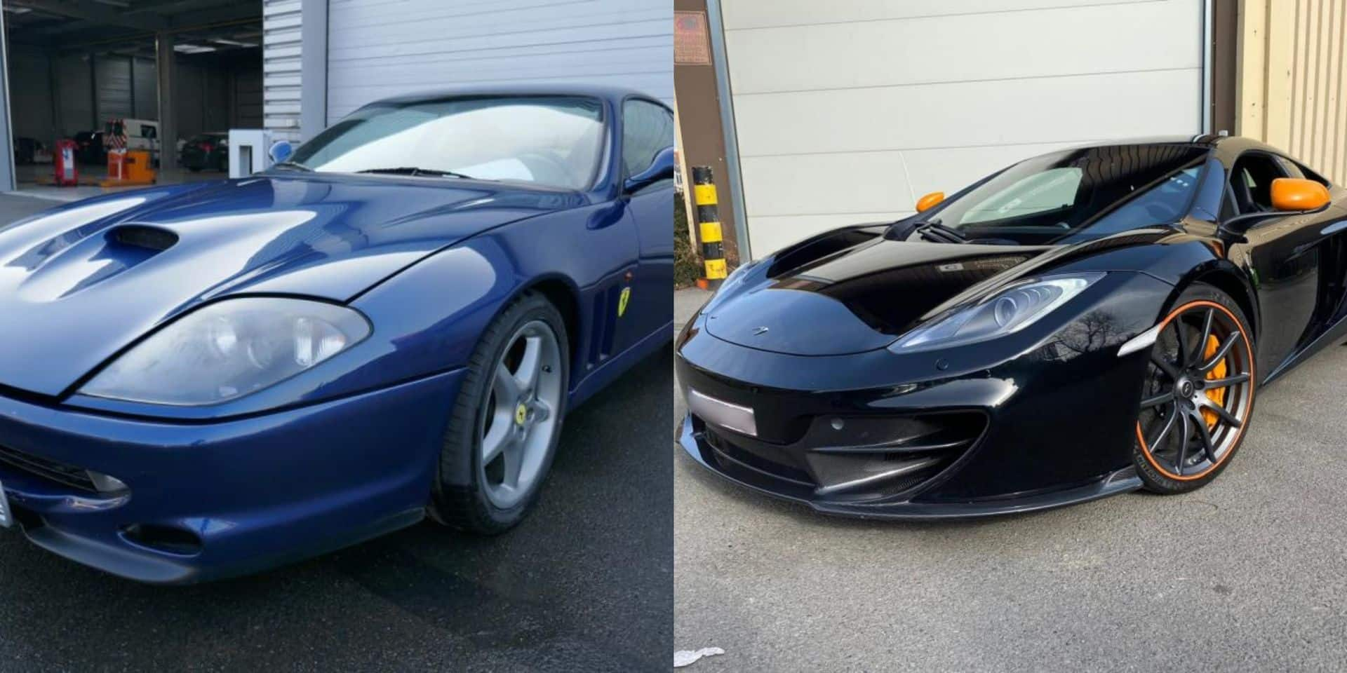Une Ferrari et une McLaren vendues aux enchères par le SPF Finances : 52.700 euros fileront directement dans les caisses de l'Etat