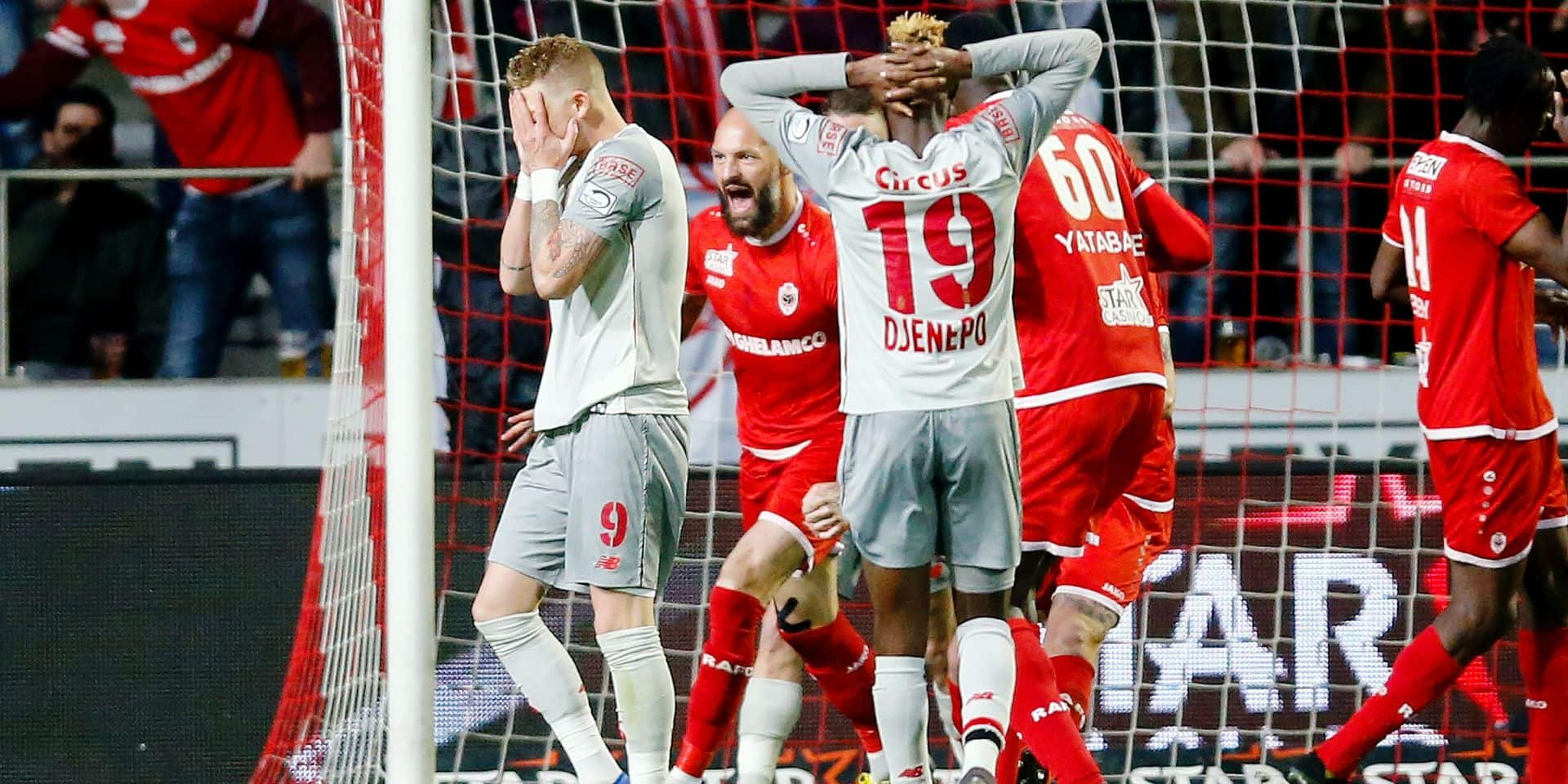Standard's Renaud Emond reacts during a soccer match between Royal Antwerp FC and Standard de Liege, Friday 26 April 2019 in Antwerp, on day 6 (out of 10) of the Play-off 1 of the 'Jupiler Pro League' Belgian soccer championship. BELGA PHOTO BRUNO FAHY