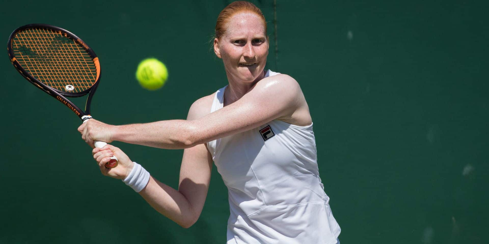 Belgian Alison Van Uytvanck pictured during the game between Australian Ashleigh Barty (WTA 1) and Belgian Alison Van Uytvanck (WTA 58) in the women's singles second round at the 2019 Wimbledon grand slam tennis tournament at the All England Tennis Club, in south-west London, Britain, Thursday 04 July 2019. BELGA PHOTO BENOIT DOPPAGNE