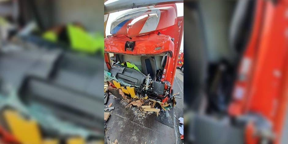 Le camionneur coincé dans sa cabine sur la E42 a pu être dégagé, il a été emmené à l'hôpital