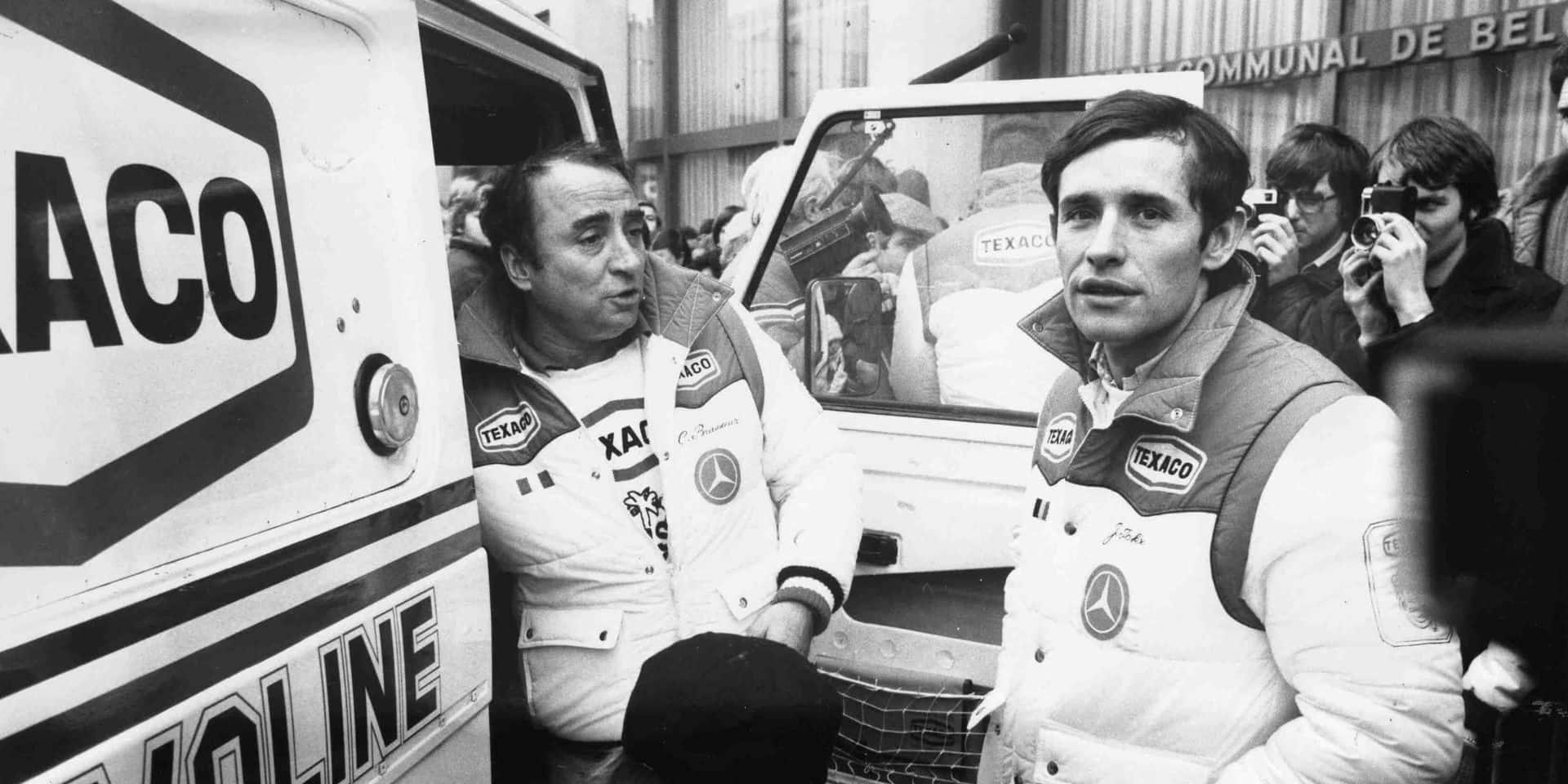Claude Brasseur aux côtés de Jacky Ickx lors du Paris-Dakar.