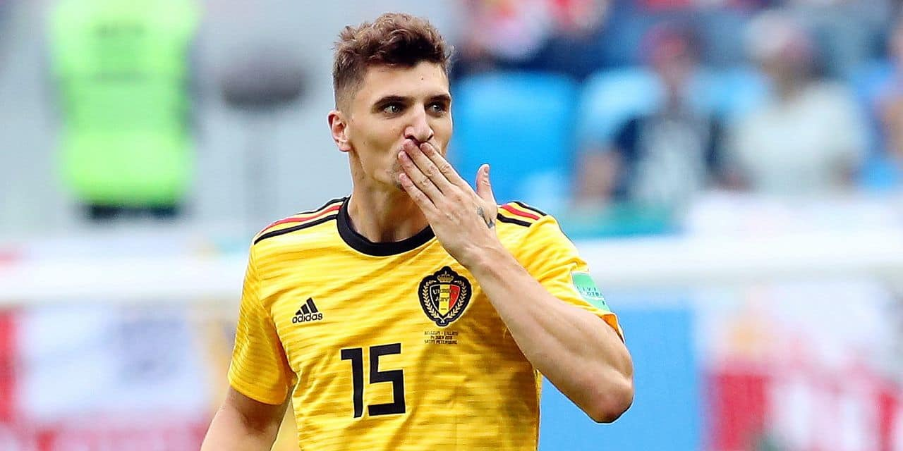 Belgium's Thomas Meunier celebrate after scoring the 1-0 goal during a soccer game between Belgian national soccer team the Red Devils and England, the third place play-off of the 2018 FIFA World Cup, Saturday 14 July 2018 in Saint-Petersburg, Russia. BELGA PHOTO BRUNO FAHY