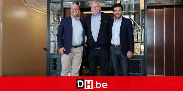 KBVB-URBSFA vice-chairman Bart Verhaeghe, KBVB-URBSFA Belgium soccer union Gerard Linard and Mehdi Bayat pose for the photographer at a press conference of Belgian national soccer team the Red Devils in Moscow, Russia, Thursday 14 June 2018. The team is preparing for their first game at the FIFA World Cup 2018 next Monday. BELGA PHOTO BRUNO FAHY