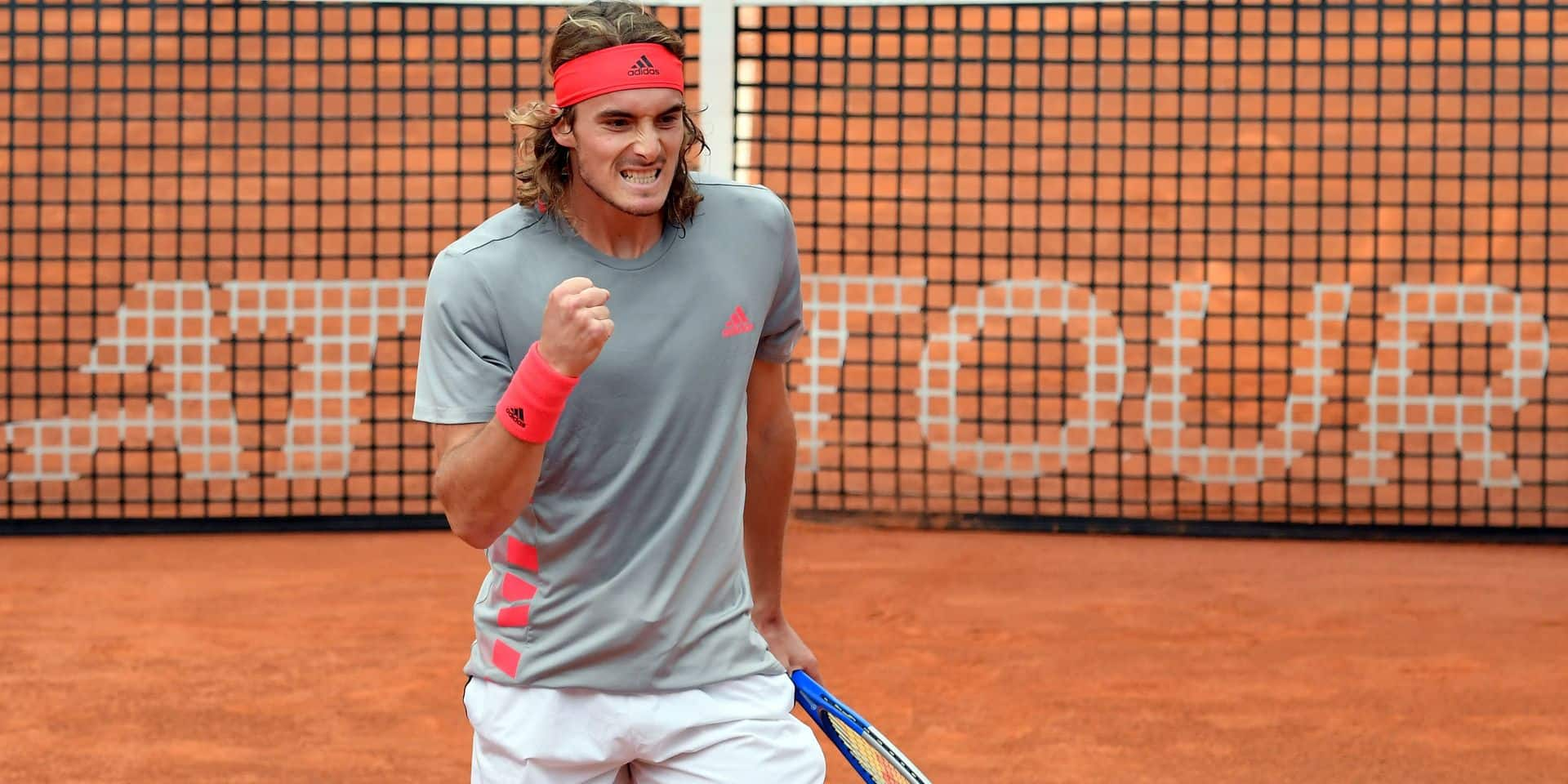 Greece's Stefanos Tsitsipas reacts after a point against Rafael Nadal of Spain during their ATP Masters tournament semi-final men's singles tennis match at the Foro Italico in Rome on May 18, 2019. (Photo by Tiziana FABI / AFP)