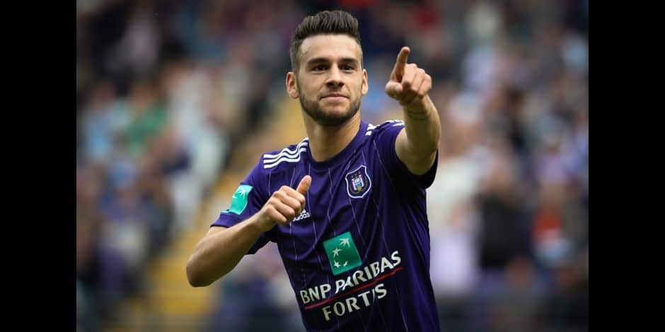 Anderlecht's Massimo Bruno celebrates after scoring during the Jupiler Pro League match between Sporting Anderlecht and Sint-Truiden, in Anderlecht, Sunday 20 August 2017, on the fourth day of the Jupiler Pro League, the Belgian soccer championship season 2017-2018. BELGA PHOTO VIRGINIE LEFOUR