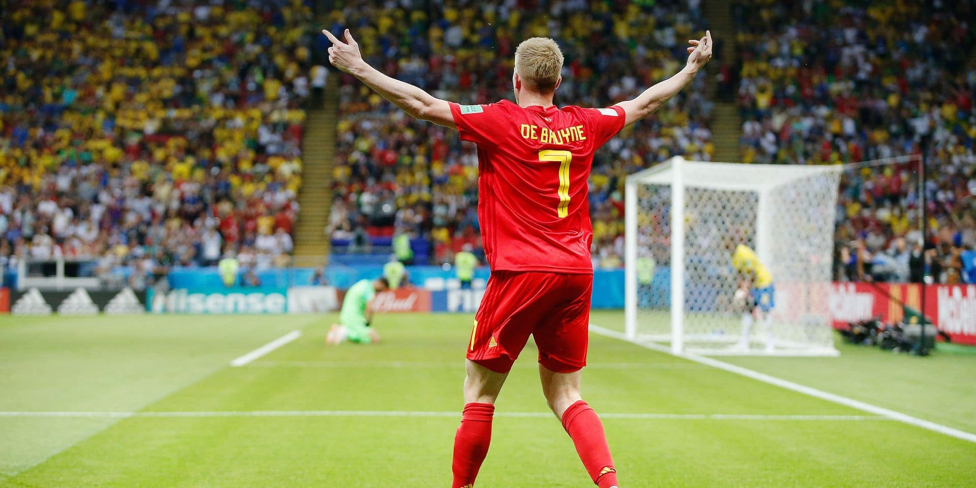 Belgium's Kevin De Bruyne celebrates after scoring during a soccer game between Belgian national soccer team the Red Devils and Brazil in Kazan, Russia, Friday 06 July 2018, the quarter-finals of the 2018 FIFA World Cup. BELGA PHOTO BRUNO FAHY