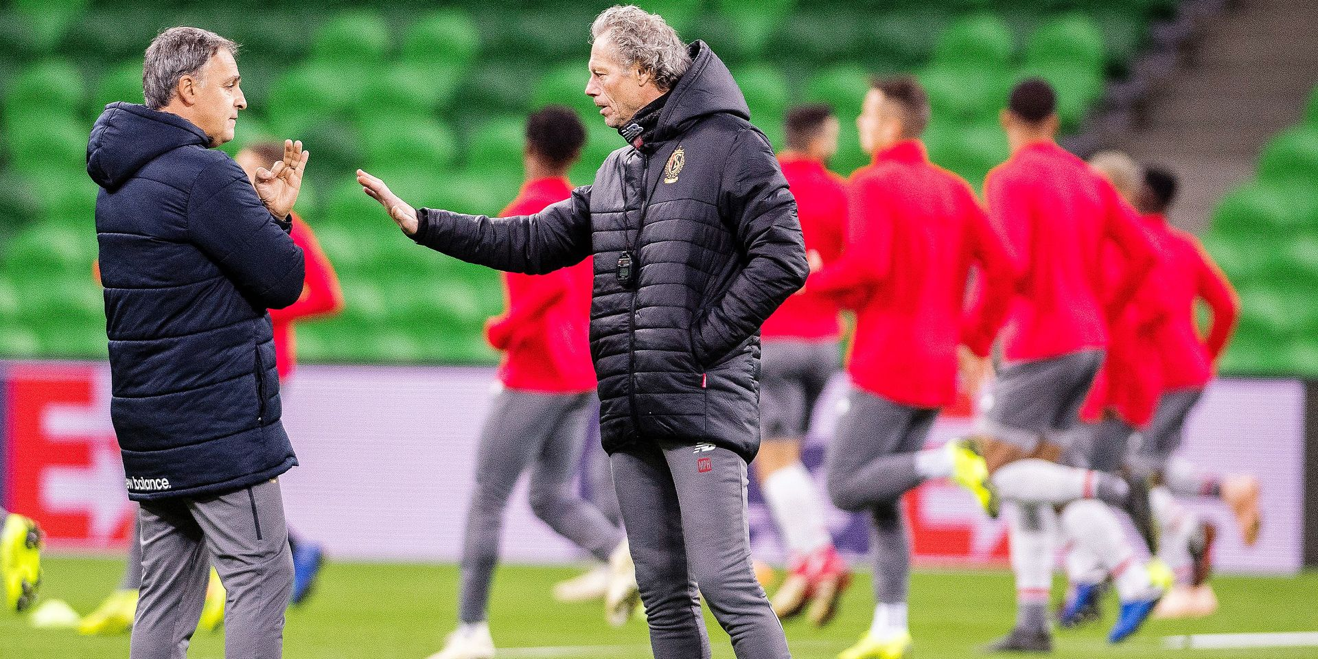 Standard's assistant coach Emilio Ferrera and Standard's head coach Michel Preud'homme pictured during a training session of Belgian soccer team Standard de Liege in Krasnodar, Russia, Wednesday 07 November 2018. Standard de Liege will meet Tomorrow Russian team FC Krasnodar on day four of the UEFA Europa League group stage, in group J. BELGA PHOTO LAURIE DIEFFEMBACQ