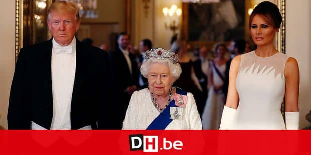 Britain's Queen Elizabeth II, centre poses for a photo with US President Donald Trump, left and first lady Melania Trump ahead of the State Banquet at Buckingham Palace in London, Monday, June 3, 2019. Trump is on a three-day state visit to Britain. (AP Photo/Alastair Grant, Pool)