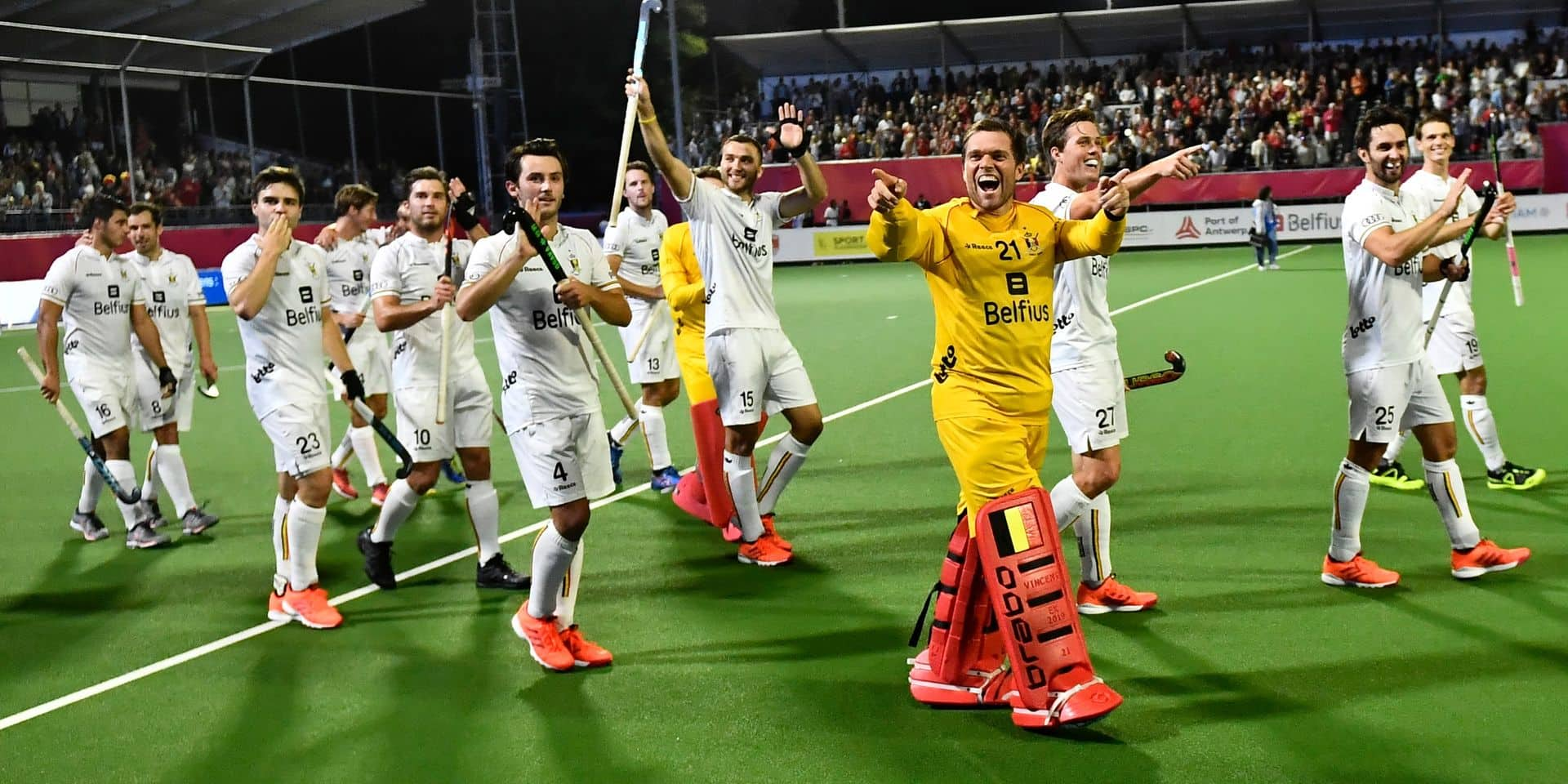Belgium's goalkeeper Vincent Vanasch celebrates after winning a hockey game between Belgian national team The Red Lions and Germany, a semi finals game at the 'EuroHockey' European Championships, Thursday 22 August 2019 in Wilrijk, Antwerp. BELGA PHOTO DIRK WAEM