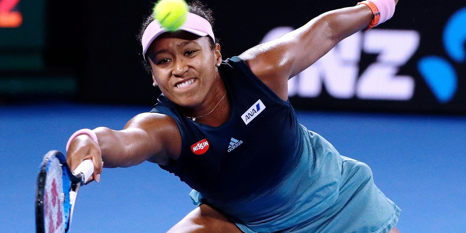 Japan's Naomi Osaka makes a forehand return to Petra Kvitova of the Czech Republic during the women's singles final at the Australian Open tennis championships in Melbourne, Australia, Saturday, Jan. 26, 2019. (AP Photo/Mark Schiefelbein)
