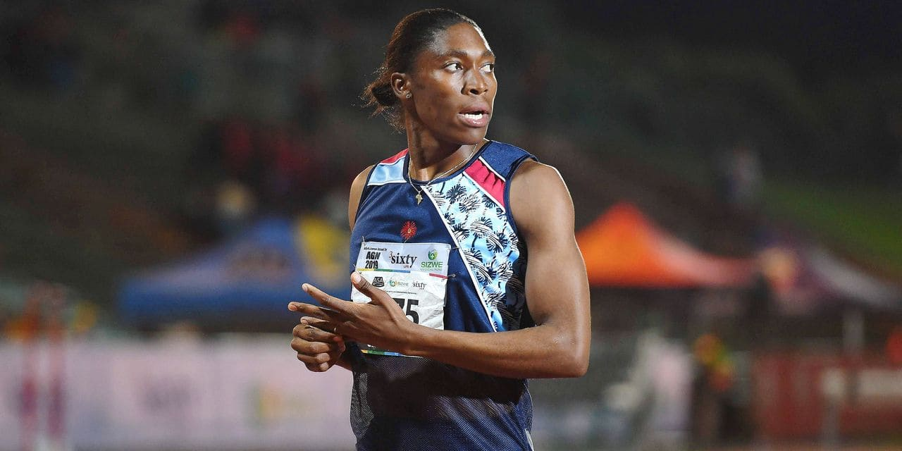 South African Olympic 800m champion Caster Semenya looks on after running the 1.500m senior women final at the ASA Senior Championships at Germiston Athletics stadium, in Germiston on the outskirts of Johannesburg, South Africa on April 26, 2019. (Photo by STRINGER / AFP)
