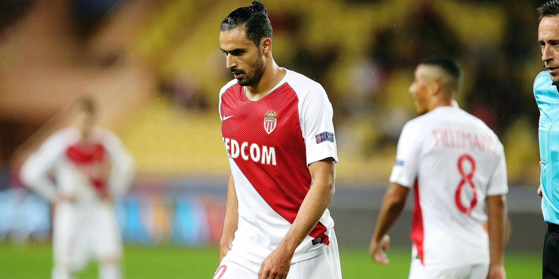 Monaco's Nacer Chadli looks dejected during a game between AS Monaco and Belgian soccer team Club Brugge KV in the Principality of Monaco, Tuesday 06 November 2018, on day four of the UEFA Champions League, in group A. BELGA PHOTO BRUNO FAHY
