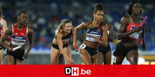 Belgian Lucie Ferauge pictured during the 4x400m women's race at the IAAF World Relays athletics event at Nissan Stadium in Yokohama, Japan, Saturday 11 May 2019. BELGA PHOTO ROGER SEDRES