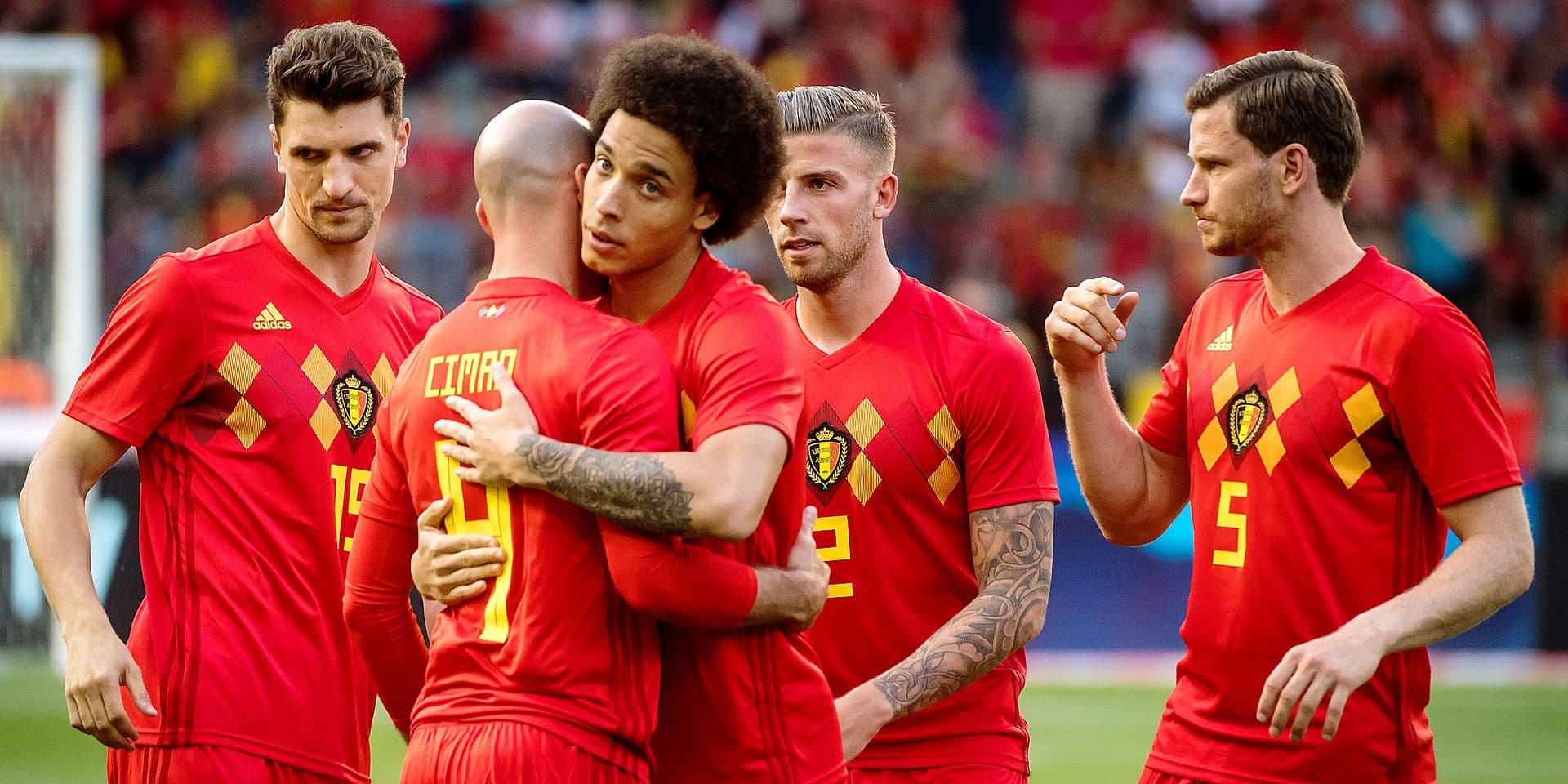 Belgium, Brussels, Jun 06, 2018 - Friendly game between Belgium national team, The Red Devils and Egyptian national soccer team. Both teams prepare the upcoming FIFA World Cup 2018 in Russia - Thomas Meunier , Laurent Ciman , Axel Witsel , Toby Alderweireld & Jan Vertonghen Copyright Danny Gys / Reporters Reporters / GYS