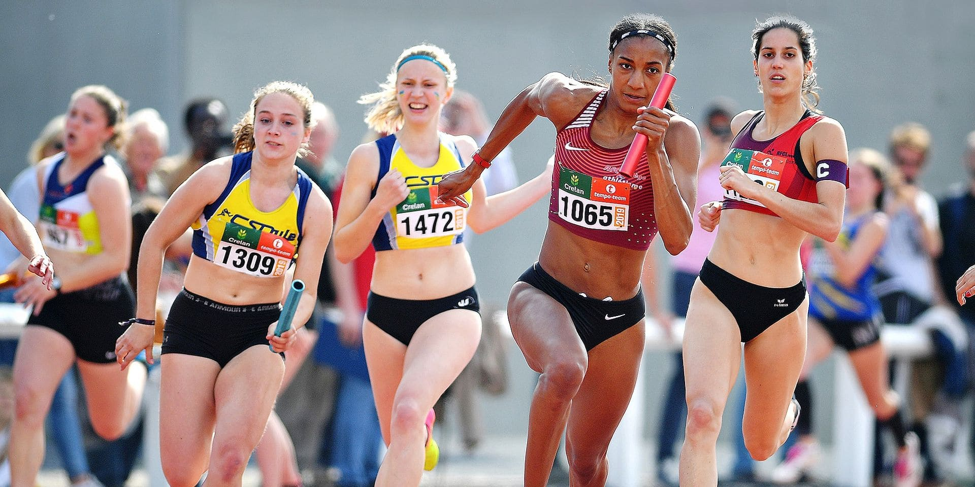 Belgian athlete Nafissatou 'Nafi' Thiam (C) pictured in action during the 4x100m relay race at the RUSTA Intercercles women's athletics meeting, Saturday 18 May 2019 in Gaurain-Ramecroix, Tournai. BELGA PHOTO DAVID STOCKMAN